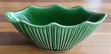 Vintage McCoy Pottery USA Green Striped Oval Planter #627 MCP Scalloped Tips