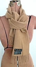 """66"""" Long X 12"""" Wide MOON Solid Camel Tan 100% CASHMERE Soft 2 3/4"""" FRINGE SCARF"""