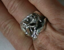 BIG Heavy Sterling silver OOAK Artist SIGNED Nude Mermaid woman ring jewelry USA
