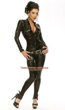 Black Metallic catwoman Black Bodysuit Catsuit Zip Up Halloween Costume / S-2xl