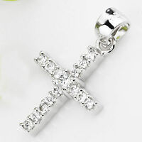 Solid 925 Sterling Silver CZ Micro Pave Setting Cross Pendant Charms Jewelry