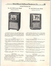 1950 PAPER AD Sentinel TV Television Sets Floor Console Mahogany Wood Cabinet