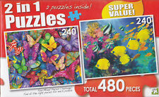 """Jigsaw Puzzle COLORFUL BUTTERFLIES - BUTTERFLYFISH 240 Pcs each 11"""" x 9"""" 2 Pack"""