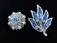 Pearl Leaf Unsignd Brooch Pin Lot 2 Vtg Blue Sapphire Rhinestone Baby Tooth Faux