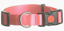 """NEW PINK 1"""" Width ADJUSTABLE TO 24"""" INCHES Box Stitch 100% POLYESTER DOG COLLAR"""