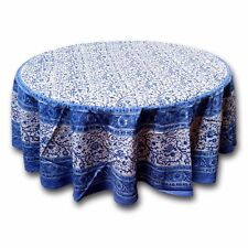 Handmade 100% Cotton Floral Rajasthan Block Print Tablecloth 72 Inch Round