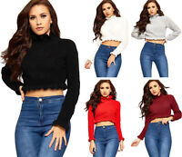 Women's Frill Ruffle Trim Knitted Crop Top Ladies Long Sleeve High Neck Jumper