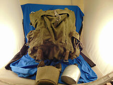 US Army back pack hiking metal frame olive drab green canvas military canteen