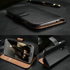 Real Genuine Leather Flip Wallet Slim Case Cover For New iPhone Samsung Sony Htc