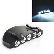 1x Lampe 5 LED Pince Clip Casquette Visière Frontale Eclairage Pêche Camping NF