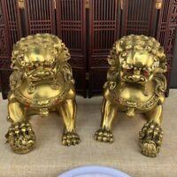 Noble Fengshui golden Brass Pair Foo Fu Dog guardian Palace lion big Statue
