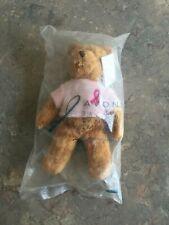"Avon Breast Cancer Crusade Pink Ribbon Teddy Bear Beanie Stuffed 2001 New 7"" 8A"