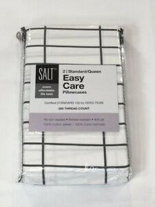 SALT Easy Care Standard Pillowcase Set - White with Gray Stripes