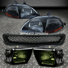 Black Head Lights Amber Corner+Smoked Lens Oe Fog Lamp+Grille For 96-98 Civic