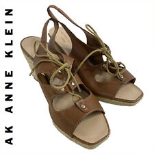 352434eddc79 AK Ann Klein Wedge Heel Espadrilles Sz 9 1 2 Leather Lace Ups Open Toe