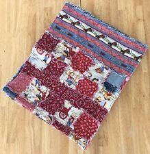 """Lap Baby Quilt Blanket Western Cowboy Blue Denim Red Handkerchief 47"""" X 38.5"""""""