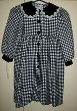 BLACK & WHITE CHECK L/SLEEVE 'BONNIE JEAN' DRESS velvet trim, size 4 - unhemmed