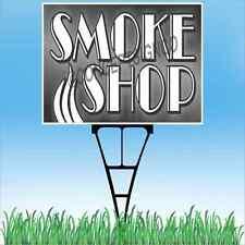 "18""x24"" SMOKE SHOP Outdoor Yard Sign & Stake Lawn Vapors E-Cig Cigarettes Hookah"