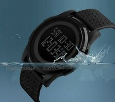 SKMEI Outdoor Ultra Thin Waterproof Digital LED Wrist Watch Wristwatch Black