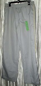 New  **DANSKIN NOW**  Yellow Lily, Gray, Polyester, Lined, Warm Up Pants, Lg.