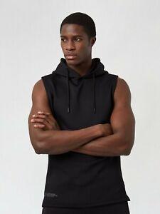 HIIT Sportswear Mens Black Scuba Sleeveless Hoodie Sweatshirt Top Sweater
