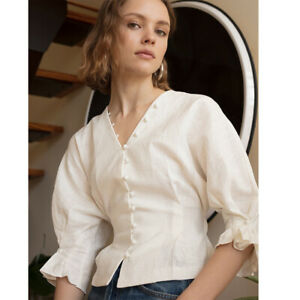 Autumn Spring Vintage Blouse Long Sleeve V-Neck Casual Formal Top Womens Shirt