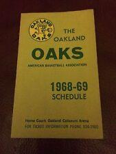 RARE OAKLAND OAKS 1968-69 Foldout Schedule ABA Champions Rick Barry Larry Brown