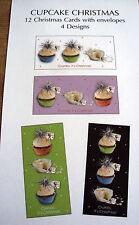XMAS CARDS & ENVELOPES: CUPCAKE CHRISTMAS DESIGN 12 CARDS IN 4 DESIGNS NEW