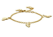 "9ct Yellow Gold Dolphin Charm Belcher Bracelet 15cm/6"""