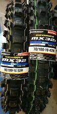 Pneus Dunlop Pièce Mx3S 70/100/19 + 90/100/16 Sx 85 rm 85 Kx85 Motocross boue