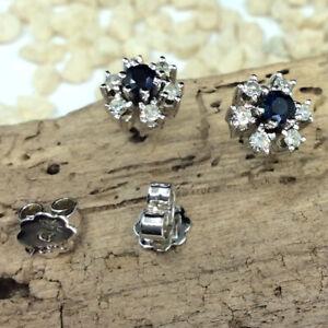 Diamant Saphir Ohrstecker 585 Weißgold 0,36ct Diamanten #5329