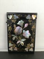 Victorian Papier Mache Calling Card Case with Mother of Pearl Inlaid
