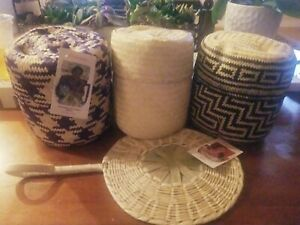 Globein Hand Woven Baskets w/ Lids Artisan Made in Mexico Set of 3 NWT
