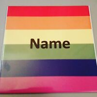 "PERSONALISED LGBT GAY PRIDE FLAG CERAMIC TILE 6X6"" ANY NAME PRINT CHRISTMAS GIFT"