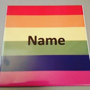 "PERSONALISED LGBT GAY PRIDE FLAG CERAMIC TILE 6X6"" ANY NAME PRINT CHRISTMAS GIFT"