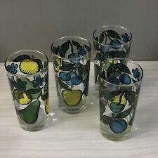 4 Vintage Transparent Graphic Fruit Motif Drinking Glasses Glass Tumblers Set