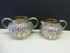 Antique Tiffany & Co Stetling Silver Cream Pitcher & Sugar Bowl Floral Reposse
