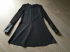 Robe soie noire manches en cuir KARL LAGERFELD T36