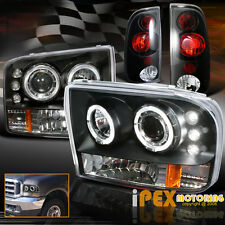 1999-2004 Ford F250/F350 SUPER-DUTY Halo Projector LED Head Light + Black Tail
