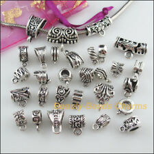 30Pc Antiqued Silver Mixed Connector Charm European Bail Beads Fit Bracelet F200
