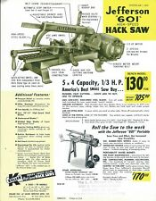 Tool Data Sheet - Keller - Jefferson - 601 - Hack Saw -  1974 Brochure (TL192)