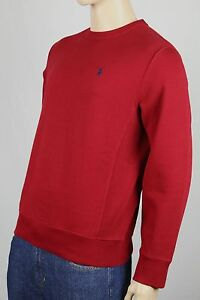 Polo Ralph Lauren Red Heavyweight Crew Neck Sweatshirt Navy Blue Pony NWT