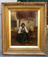 British school oil. 19th century. Fine Interior with lady by spinning wheel.