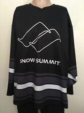 SNOW SUMMIT MOUNTAIN HOCKEY JERSEY ~ Black/Gray/White ~ Large Big Bear Snowboard