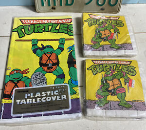 Vintage TMNT Ninja Turtles Birthday Party Table Cover Cloth & Napkins NOS!!