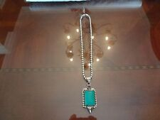 VINTAGE STERLING SILVER BEADS CHOKER NECKLACE WITH TURQUOISE PENDANT--BOTH 925-
