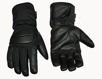 Mens Leather And Textile Waterproof Motorcycle Motorbike Gloves Biker Blk-Size S