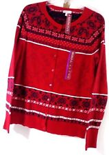 Merona Navy Red White  Print Cardigan Sweater Sz XL  NWT Soft Material Holiday