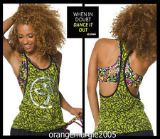 ZUMBA 2Pc.SET! Burn Out Tank Silver Foil + Mashed Up Reversible Bra --EliteZWear