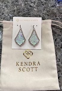 Kendra Scott Alex Drop Statement Earrings Rhodium Iridescent Mint Illusion